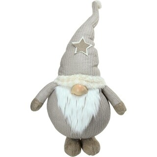 """15.75"""" Plush and Portly Champagne Gnome Decorative Christmas Tabletop Figure"""