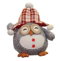 "12"" Darling Gray Owl w/ Plaid Bennie Cap Plush Table Top Christmas Figure"