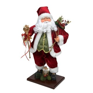 """18"""" Santa Claus with Gift Bag and Staff Christmas Tabletop Decoration"""