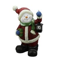 "19"" Festive Glitter Snowman with Lantern Christmas Table Top Decoration"