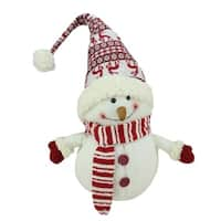 "24"" Ivory  Red and White Chubby Smiling Snowman with Reindeer Hat Plush Table Top Christmas Figure"