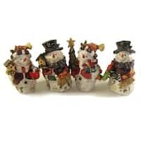"Club Pack of 48 Folk Art Snowman Table Top Decorations 5"""