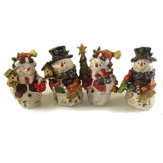 Club Pack of 48 Folk Art Snowman Table Top Decorations 5""
