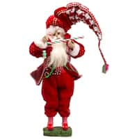 "17"" Peppermint Twist Decorative Plush Santa Claus w/ Candy Cane Christmas Figure"