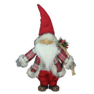 """21"""" Red and Gray """"Merry Matthew"""" Gnome Christmas Tabletop Decoration"""