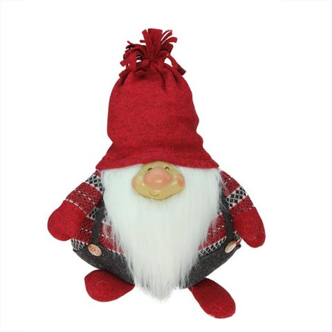 "14"" Charcoal Gray and Red ""Doug"" Gnome Christmas Tabletop Decoration"