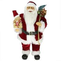 "24"" Traditional Standing Santa Claus Christmas Figure with Teddy Bear and Gift Bag"