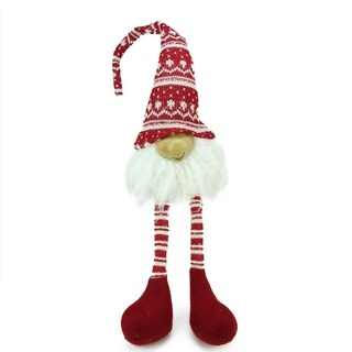 "29"" Red and White Portly Smiling Hanging Leg Gnome Decoration with Christmas Snow Cap"