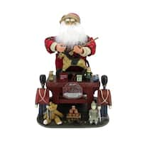 "21"" Decorative Retro-Style Santa Claus the Toy Maker with Work Station Christmas Figure"