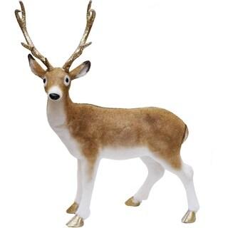"""22.5"""" Nature's Luxury Golden Brown Standing Deer Christmas Decoration"""