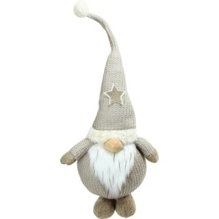 "29.5"" Plush and Portly Champagne Gnome Decorative Christmas Tabletop Figure"