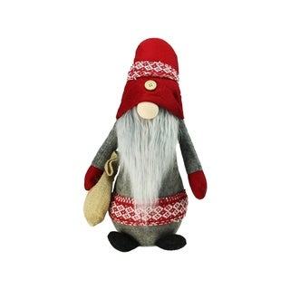 "29.5"" Plush Red and Gray Nordic Santa Christmas Gnome with Burlap Sack Tabletop Figure"
