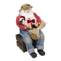 "15"" Country Heritage Santa Claus Holding Hampshire Sheep Christmas Decoration"