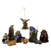 9-Piece Hand Painted Religious Christmas Nativity Figurine Set