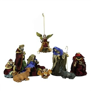 9-Piece Hand Painted Religious Christmas Nativity Figurine Set