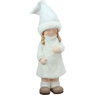 """19"""" Winter Girl in White with Tall Hat Christmas Table Top Figure"""