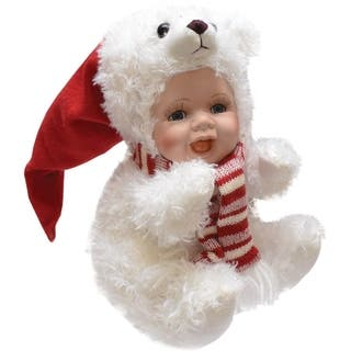 """8.5"""" Porcelain Baby in Polar Bear Costume with Santa Hat Collectible Christmas Doll