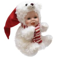 "8.5"" Porcelain Baby in Polar Bear Costume with Santa Hat Collectible Christmas Doll"