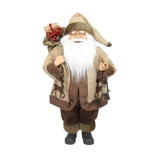"""18.25"""" Country Rustic Santa Claus with Lantern Christmas Tabletop Decoration"""