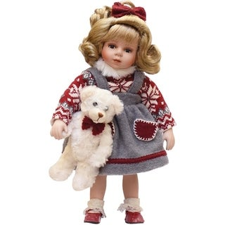 """14.5"""" Porcelain """"Eileen"""" with Teddy Bear Standing Collectible Christmas Doll"""