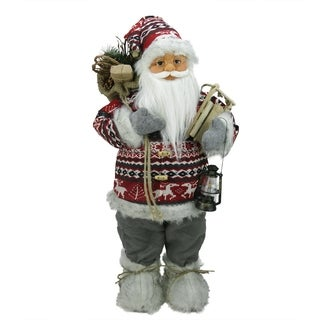 "24"" Nordic Standing Santa Claus Christmas Figure with Snow Sled and Gift Bag"