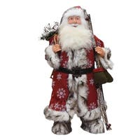 "24"" Standing Snowflake Santa Claus Christmas Figure with Mittens and Staff"