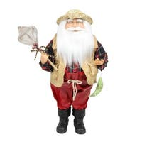 "18"" Rustic Lodge Fisherman Santa Claus with Net and Fish Christmas Tabletop Decoration"