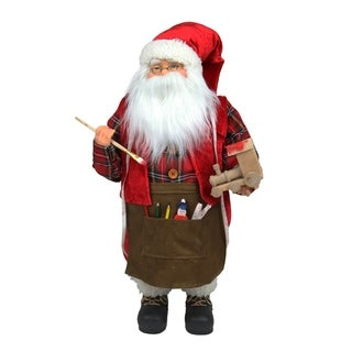 """24"""" Animated Santa Claus Painting a Toy Train Christmas Decoration"""