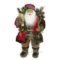 """24"""" Country Rustic Standing Santa Claus Christmas Figure with Knitted Snowflake Jacket"""