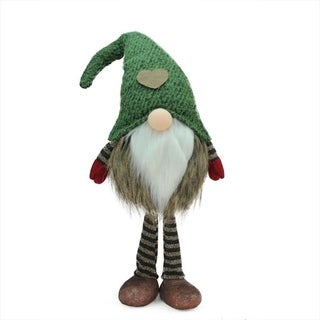 """19.5"""" Green and Brown Striped """"Felix"""" Standing Chubby Santa Gnome Table Top Christmas Figure"""