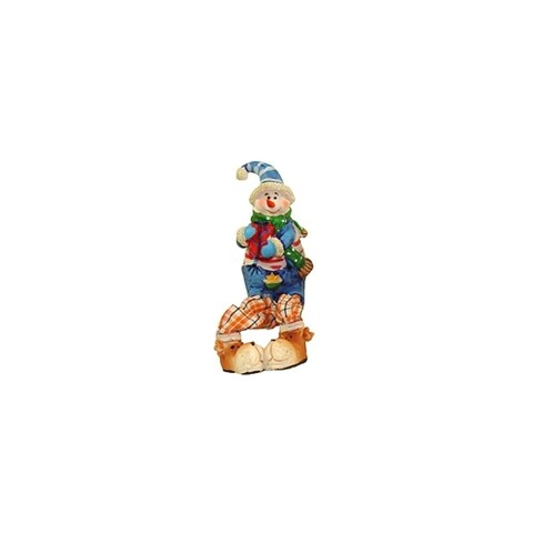 "5.5"" Festive Blue and Orange Plaid Sitting Snowman Christmas Table Top Figure"