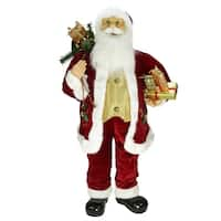 "36"" Traditional Holly Berry Standing Santa Claus Christmas Figure with Presents and Gift Bag"