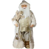 "32"" Gilded White Christmas Santa in Lavish Gold Suit Christmas Figure Decoration"