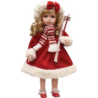 """17.5"""" Porcelain """"Dina"""" Holding Skis Standing Collectible Christmas Doll