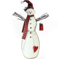"25.5"" Holiday Moments Snowman with Red Plaid Hat and Scarf Christmas Decoration"