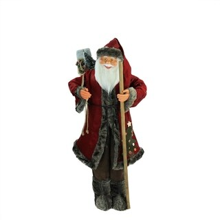 """48"""" Standing Red and Brown Jolly Santa Claus Christmas Figure with Walking Stick"""