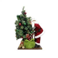 "30"" Battery Operated Lighted LED Santa Claus with Tree and Gift Bag Christmas Figure on Wooden Base"