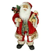 "24"" Old World Style Standing Santa Claus Christmas Figure with Gift Bag and Presents"
