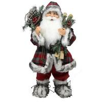 """24"""" Alpine Chic Standing Santa Claus with Frosted Pine  Snowshoes and Skis Christmas Figure"""