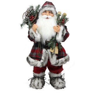 "24"" Alpine Chic Standing Santa Claus with Frosted Pine Snowshoes and Skis Christmas Figure"