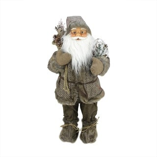 "24"" Woodland Snowshoe Standing Santa Claus Christmas Figure with Gift Bag"