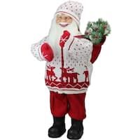 "25"" Retro Christmas Santa in Knit Deer Sweater with Sack of Pine Figure Decoration"