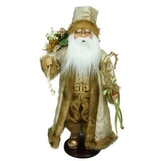 "18.25"" Winter Light Santa Claus with Jacquard Jacket Christmas Decoration"