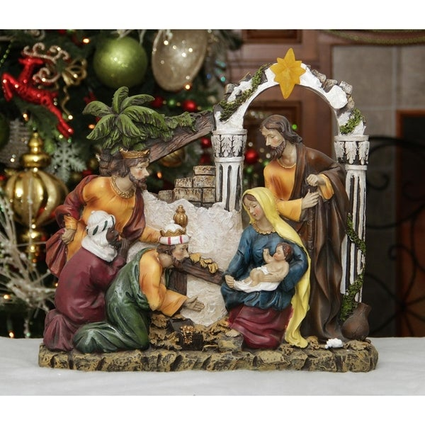 """Shop 14.5"""" Inspirational Religious Christmas Holy Family and Three Kings Nativity Scene - Free Shipping Today - Overstock - 17289666"""