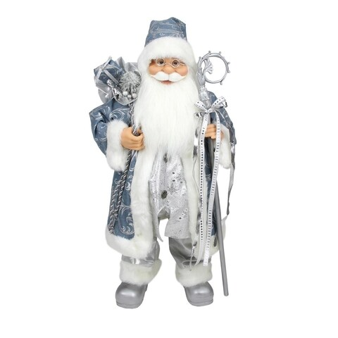 "25"" Ice Palace Standing Santa Claus in Blue and Silver Holding A Staff and Bag Christmas Figure"