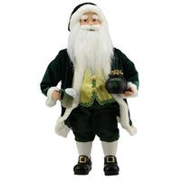 "18.5"" Luck of the Irish Santa Claus Holding a Beer Christmas Decoration"