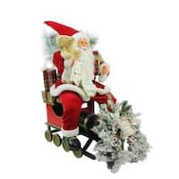 "26"" Traditional Santa Claus Christmas Figure Sitting on Decorative Locomotive Train Car"