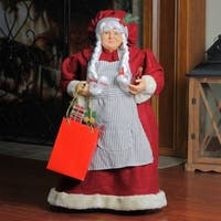 """19"""" Mrs. Claus the Chef Standing Christmas Figure with Wine and Bag of Treats"""