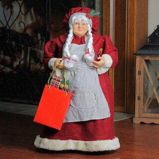 "19"" Mrs. Claus the Chef Standing Christmas Figure with Wine and Bag of Treats"