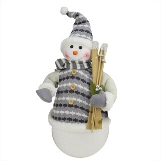 """20"""" Alpine Chic Snowman with Gray and White Jacket Christmas Decoration"""
